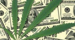 marijuana leaf and money