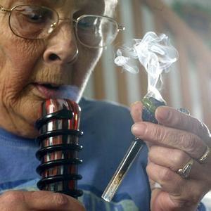 Old Woman Smoking Marijuana