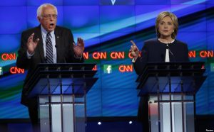 Bernie Sanders and Hillary Clinton at Democratic Debate on CNN, Oct. 13, 2015