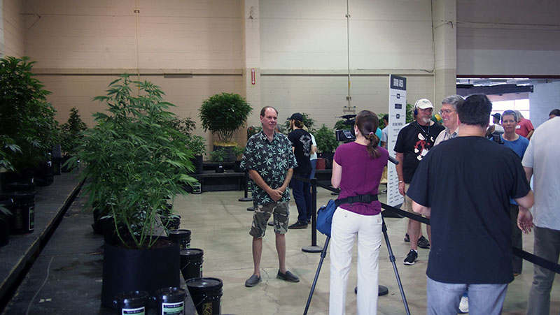 Ganja Guru' Ed Rosenthal speaks with members of the press about his role in the Oregon Cannabis Growers' Fair judging process.